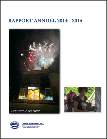 Rapport annuel 2014-2015 | Centre Mgr Marcoux